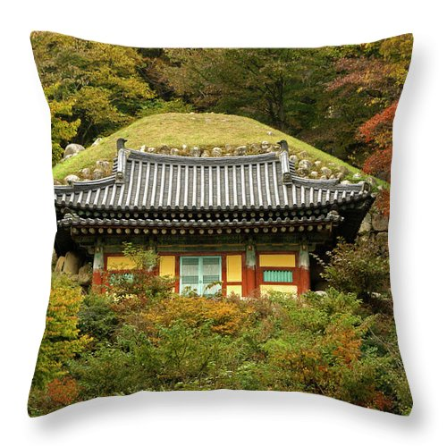 Asia Throw Pillow featuring the photograph Seokguram Grotto by Michele Burgess