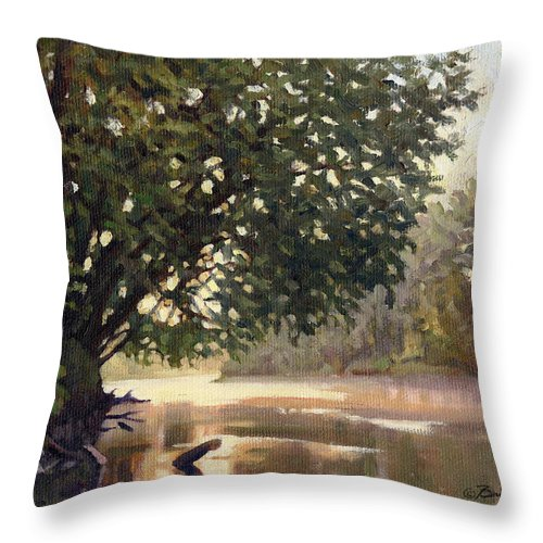 River Painting Throw Pillow featuring the painting September Dawn Little Sioux River - Plein Air by Bruce Morrison