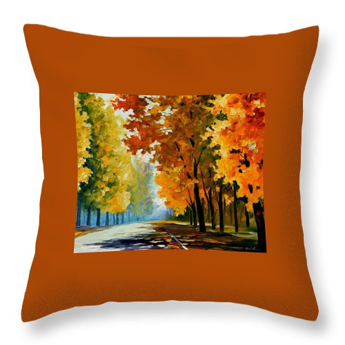 Afremov Throw Pillow featuring the painting September Morning by Leonid Afremov