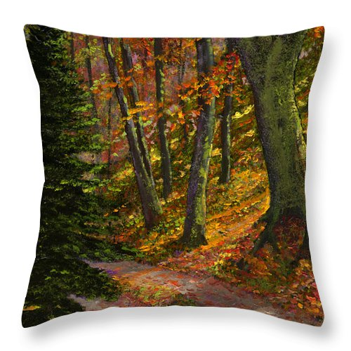 Road In The Woods Throw Pillow featuring the painting September Road by Frank Wilson
