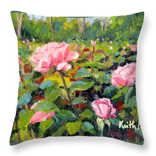 Impressionism Throw Pillow featuring the painting September Roses by Keith Burgess