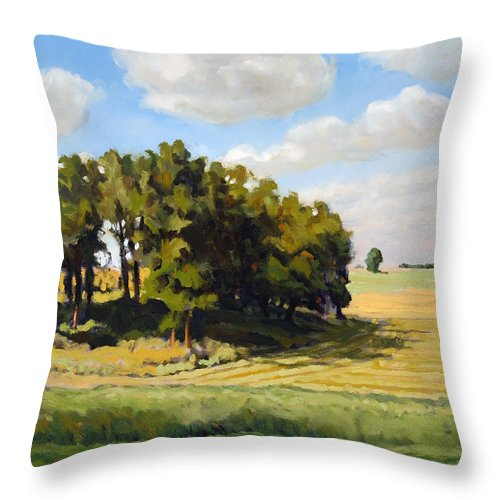 Landscape Throw Pillow featuring the painting September Summer by Bruce Morrison