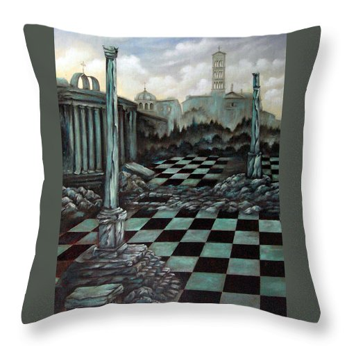 Surreal Throw Pillow featuring the painting Sepulchre by Valerie Vescovi