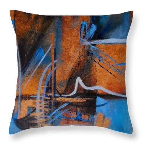 Abstract Throw Pillow featuring the painting Sequence Of Events by Ruth Palmer