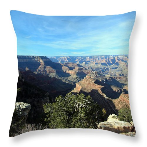 Landscape Throw Pillow featuring the photograph Serene Canyon by Mary Haber