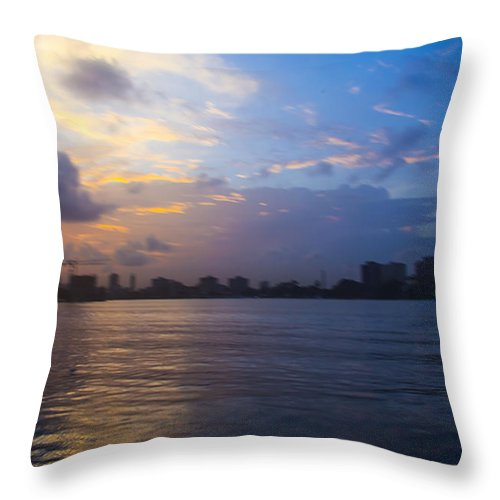 Landscape Throw Pillow featuring the photograph Serene City At Dusk by Oghenefego Ofili