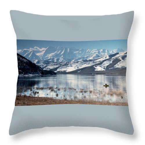 Landscape Throw Pillow featuring the photograph Serene Paddling by Scott Sawyer