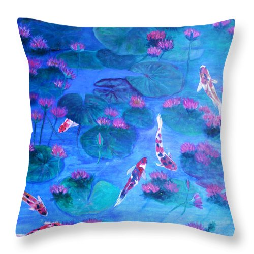 Lily Pads Throw Pillow featuring the painting Serene Pond by Ben Kiger