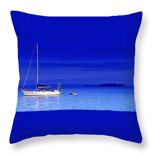 Transportation. Boats Throw Pillow featuring the photograph Serene Seas by Holly Kempe