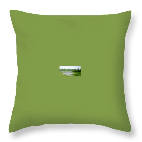 Landscape Throw Pillow featuring the painting Serene Vista by Sheila Mashaw