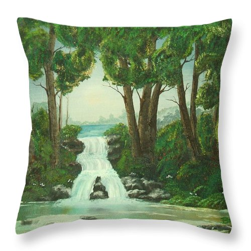 Waterfall Throw Pillow featuring the painting Serenity by Brandy House