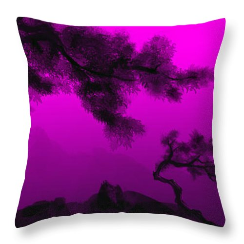 Japanese; Sunset; Mountains; Trees; Rising; Sun; Contemporary; Purple; Pink;sunrise; Sunset Throw Pillow featuring the painting Serenity by James Christopher Hill