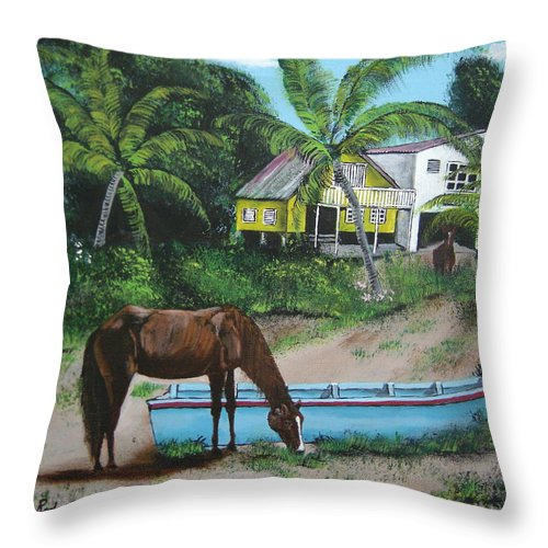Aguadilla Throw Pillow featuring the painting Serenity by Luis F Rodriguez