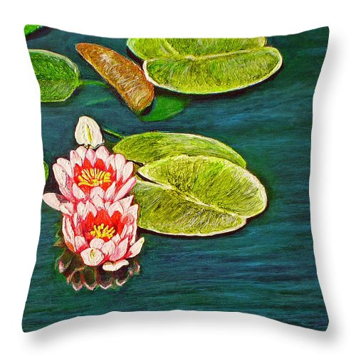 Water Lily Throw Pillow featuring the painting Serenity by Michael Durst