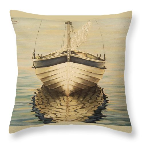 Seascape Throw Pillow featuring the painting Serenity by Natalia Tejera