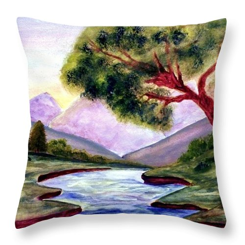 Landscape Throw Pillow featuring the painting Serenity by Robin Monroe