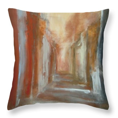 Abstract Throw Pillow featuring the painting Serenity by Rome Matikonyte