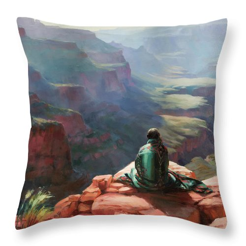 Southwest Throw Pillow featuring the painting Serenity by Steve Henderson