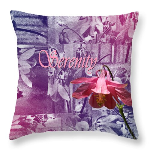 Serenity Throw Pillow featuring the digital art Serentiy Columbine 2 by Cathy Beharriell