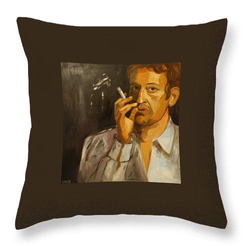 Portrait Stars Throw Pillow featuring the painting Serge Gainsbourg by Carmen Stanescu Kutzelnig