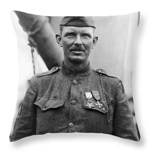 Alvin York Throw Pillow featuring the photograph Sergeant York - World War I Portrait by War Is Hell Store