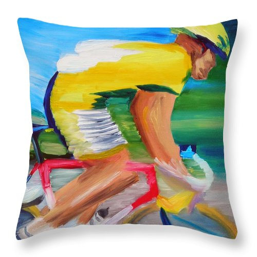 Cycling Throw Pillow featuring the painting Serinity by Michael Lee