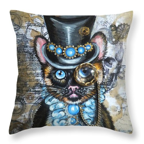 Cat In The Hat Dr. Seuss Scull Da Vinci Man Gears Cogs Original Painting Abstract Art Aged Page Hand Writing Olie Cannoli Griffard Anna Coffee Stains Antique Vintage Victorian Era Steampunk Top Hat Monocle Gray Siamese Cat Kitten Kitty Gold Chain Feline Blue Jewels Sapphire Stones Collar Ruffles Throw Pillow featuring the painting Serious Business by Anna Griffard