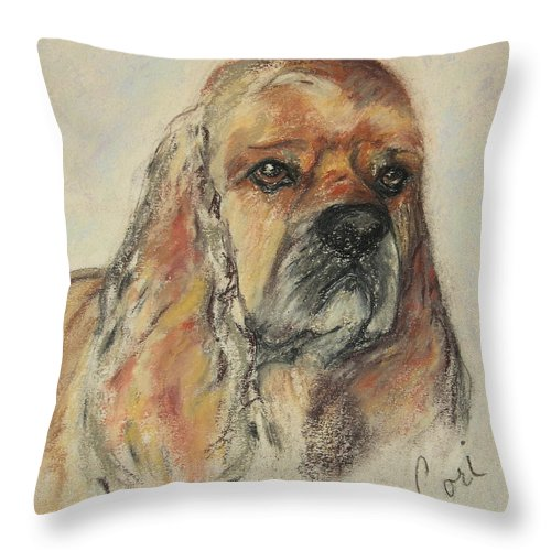 Dog Throw Pillow featuring the drawing Serious Intent by Cori Solomon