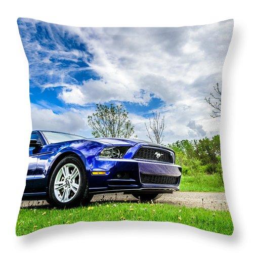 2014 Throw Pillow featuring the photograph Serious Stang by Randy Scherkenbach