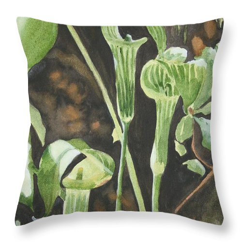 Woods Throw Pillow featuring the painting Sermon In The Woods by Jean Blackmer