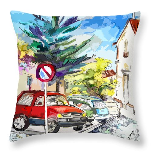 Painting Of Serpa Alentajo Portugal Travel Sketch Throw Pillow featuring the painting Serpa Portugal 02 Bis by Miki De Goodaboom