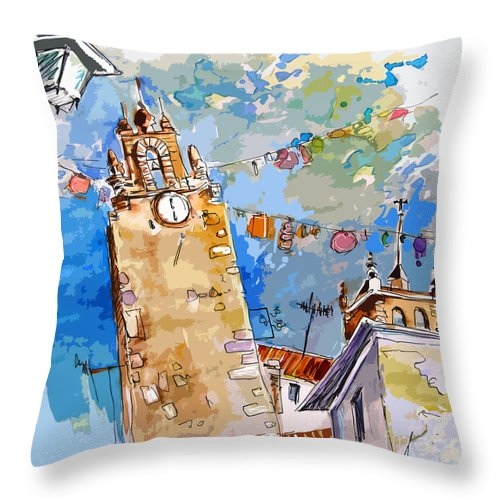 Painting Of Serpa Alentajo Portugal Travel Sketch Throw Pillow featuring the painting Serpa Portugal 08 Bis by Miki De Goodaboom