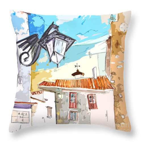 Painting Of Serpa Alentajo Portugal Travel Sketch Throw Pillow featuring the painting Serpa Portugal 09 Bis by Miki De Goodaboom