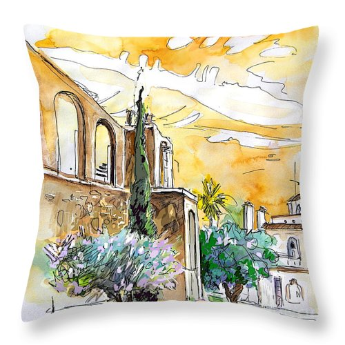 Portugal Paintings Throw Pillow featuring the painting Serpa Portugal 10 by Miki De Goodaboom