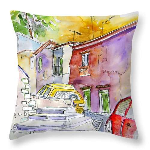 Portugal Paintings Throw Pillow featuring the painting Serpa Portugal 12 by Miki De Goodaboom