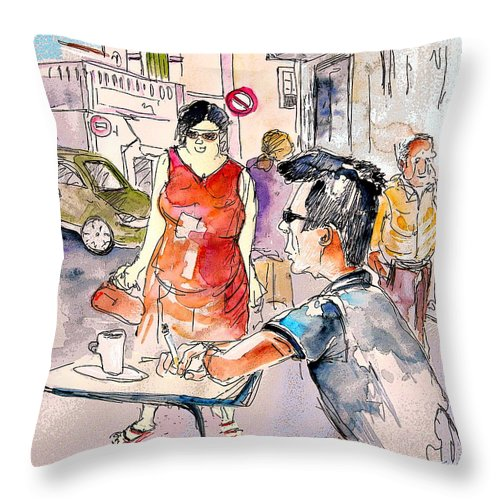 Portugal Paintings Throw Pillow featuring the painting Serpa Portugal 16 by Miki De Goodaboom