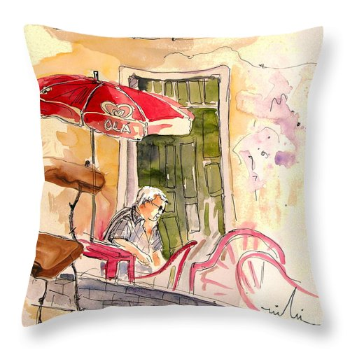 Portugal Paintings Throw Pillow featuring the painting Serpa Portugal 23 by Miki De Goodaboom
