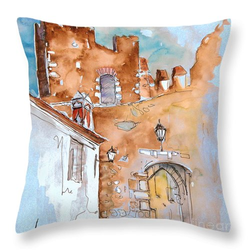 Water Colour Painting Serpa Portugal Throw Pillow featuring the painting Serpa Portugal 29 by Miki De Goodaboom