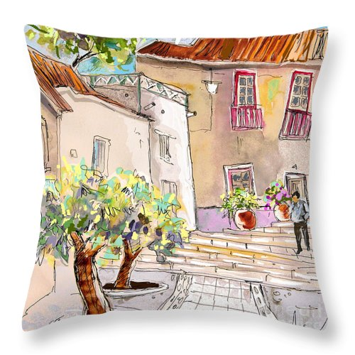 Portugal Paintings Throw Pillow featuring the painting Serpa Portugal 36 by Miki De Goodaboom