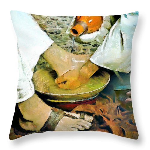 Christian Art Throw Pillow featuring the painting Serving One Another by Wayne Pascall
