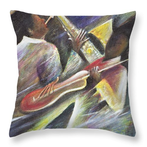 African-american; African Throw Pillow featuring the painting Session by Ikahl Beckford