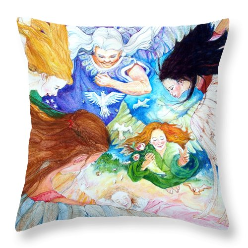 Angels Throw Pillow featuring the drawing Set Your Mind On Things Above by Jill Iversen