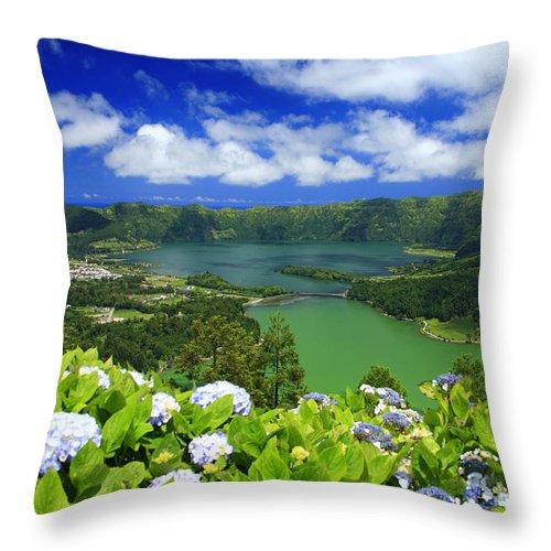 Sete Cidades Throw Pillow featuring the photograph Sete Cidades Crater by Gaspar Avila