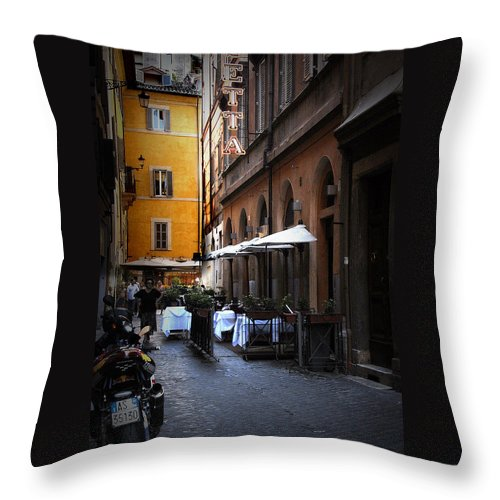 Travel Throw Pillow featuring the photograph Setta Alley And Motorcycle by James Zuffoletto