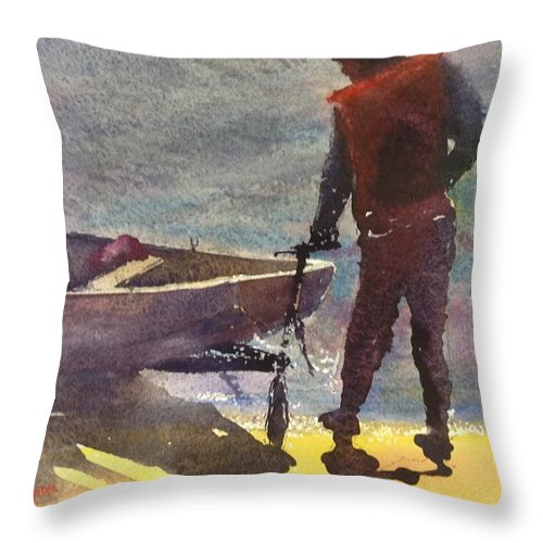 Boat Throw Pillow featuring the painting Setting Out by Keith Thompson