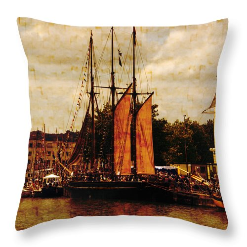 Tall Ships Throw Pillow featuring the photograph Setting Sail From Bristol by Brian Roscorla