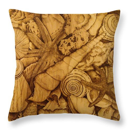 Pyrography; Sepia; Shells; Sea Shells; Starfish; Ocean; Sea; Underwater; Sea Life; Throw Pillow featuring the pyrography Settled by Jo Schwartz
