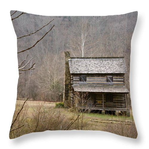 Settlers Throw Pillow featuring the photograph Settlers Cabin In Cades Cove by Douglas Barnett