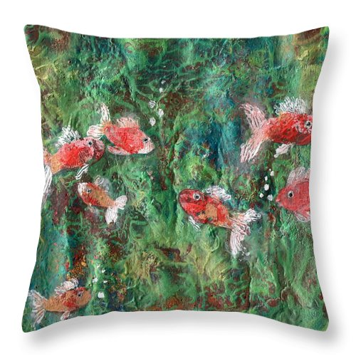 Acrylic Throw Pillow featuring the painting Seven Little Fishies by Maria Watt