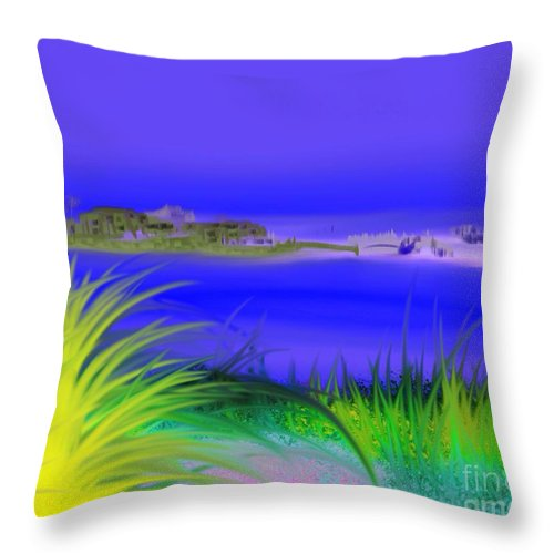 Original Throw Pillow featuring the painting Seven Seas by ElsaDe Paintings